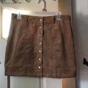 Brown button skirt
